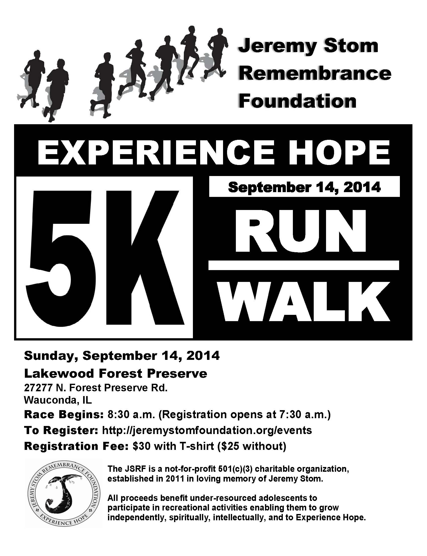Experience Hope 5K Run Walk 2014 Full Pg Flyer 5.13.14
