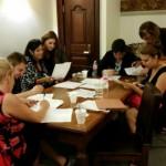 Chelsea Laliberte, Kathie Kane-Willis, Laura Fry, Alisha Gilani, Tess Benham, Felicia Miceli and Benjamin Waite prepare to lobby in Springfield to override Governor Rauner's veto of Heroin Crisis Act. We won!